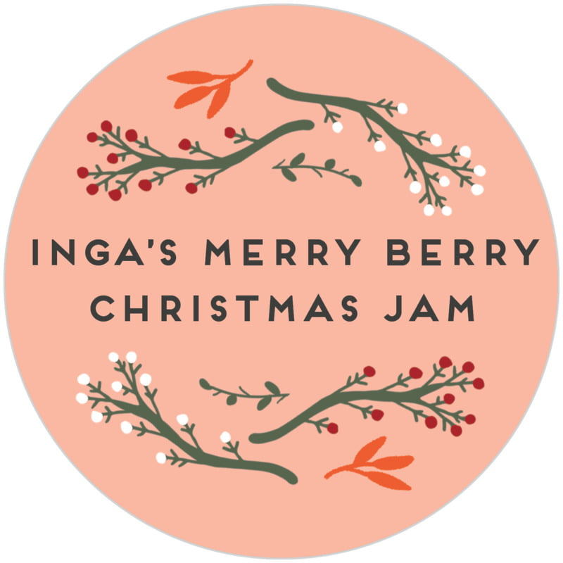 circle food/craft labels - peach - merry berries (set of 20)