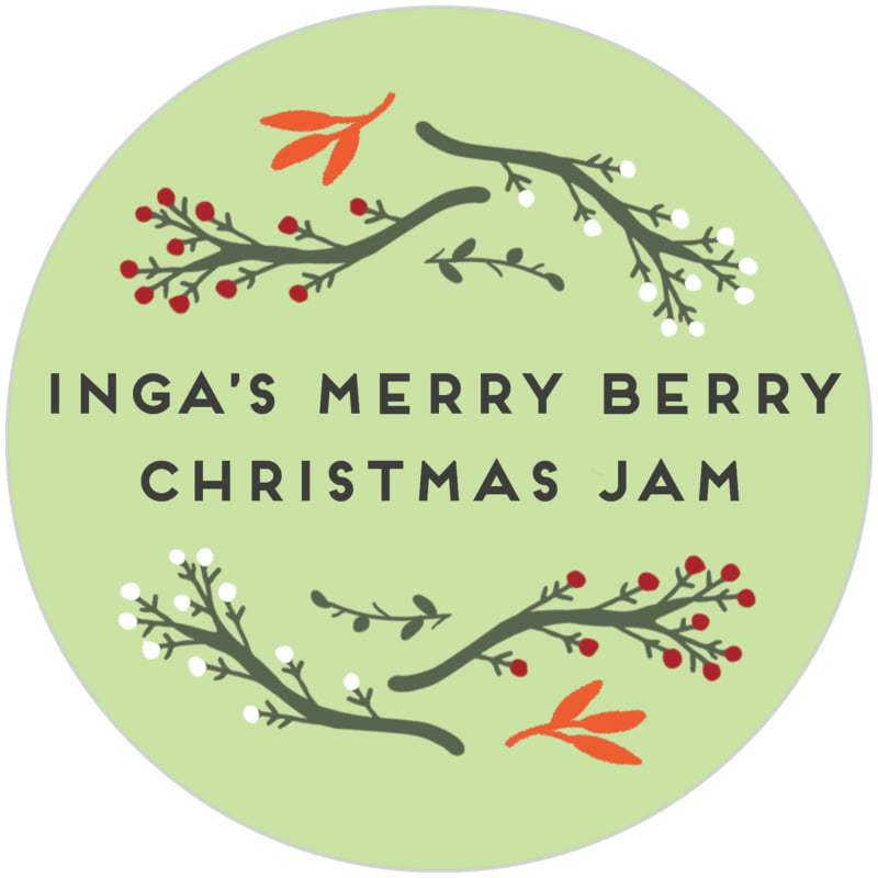 circle food/craft labels - lime - merry berries (set of 20)