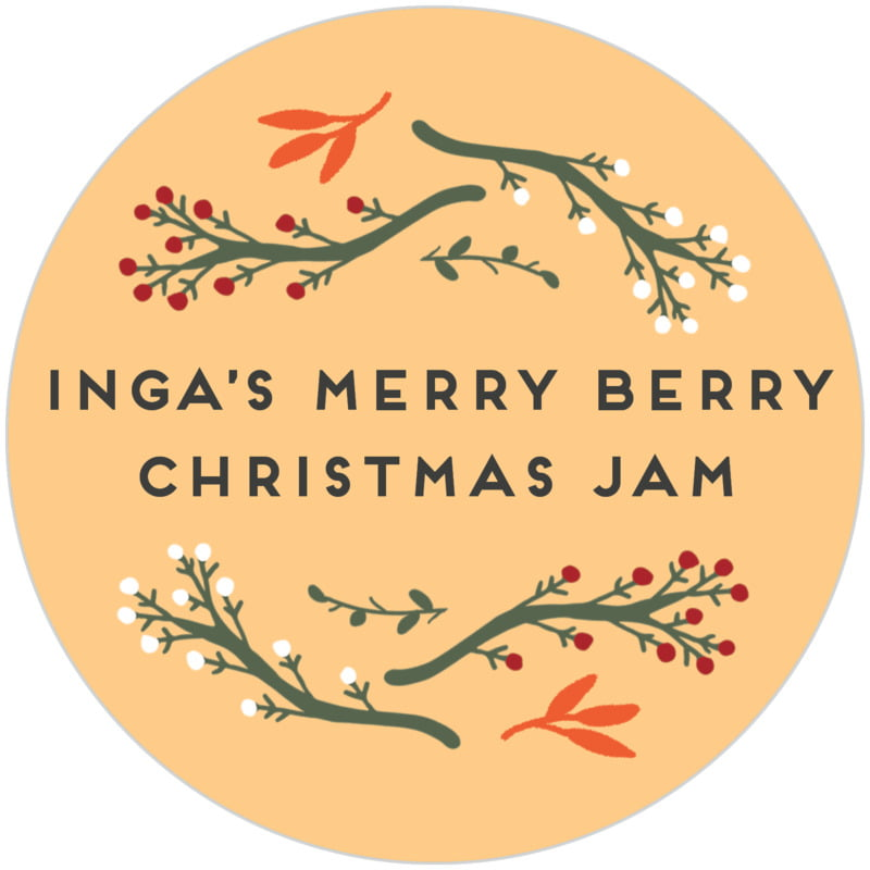 circle food/craft labels - orange - merry berries (set of 20)