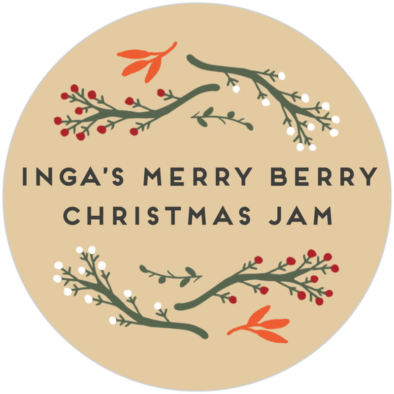 circle food/craft labels - deep gold - merry berries (set of 20)
