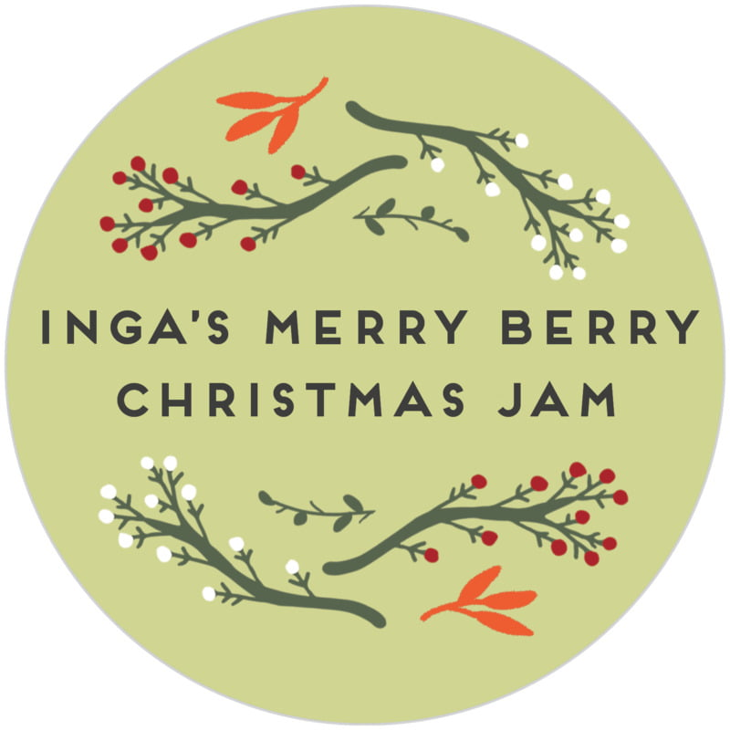 circle food/craft labels - green tea - merry berries (set of 20)
