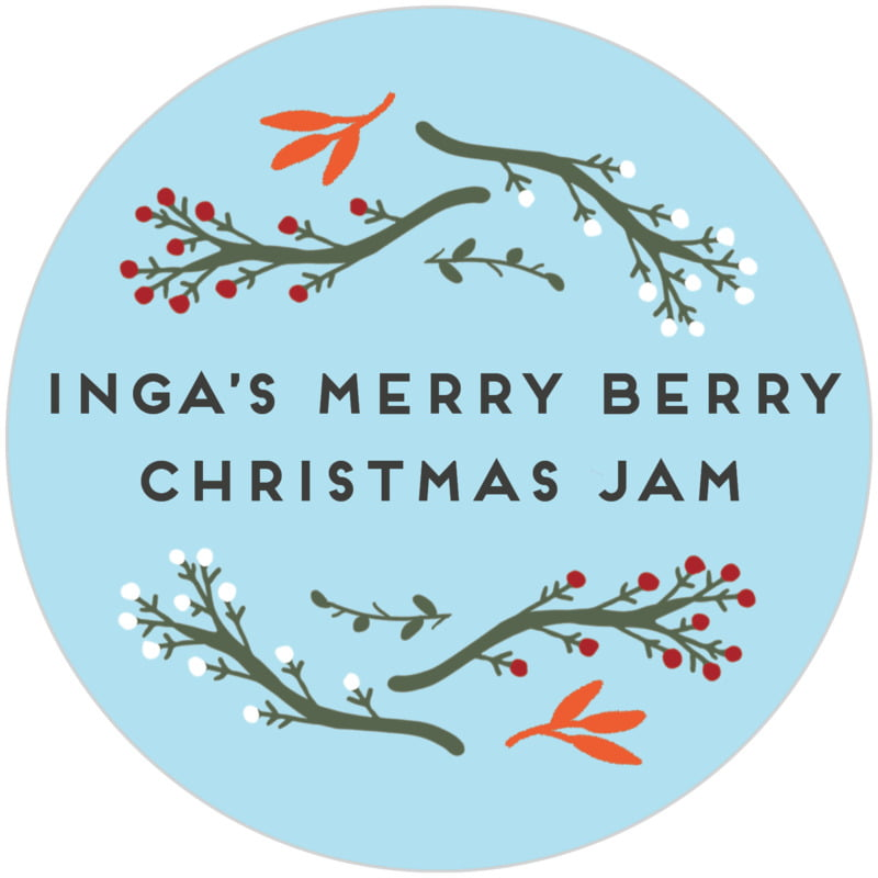 circle food/craft labels - sky - merry berries (set of 20)