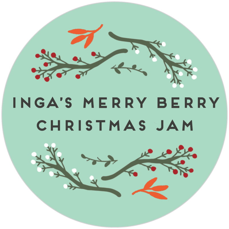 circle food/craft labels - sea glass - merry berries (set of 20)