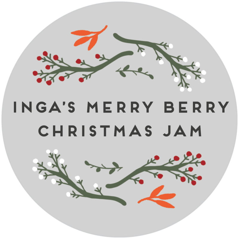 circle food/craft labels - stone - merry berries (set of 20)