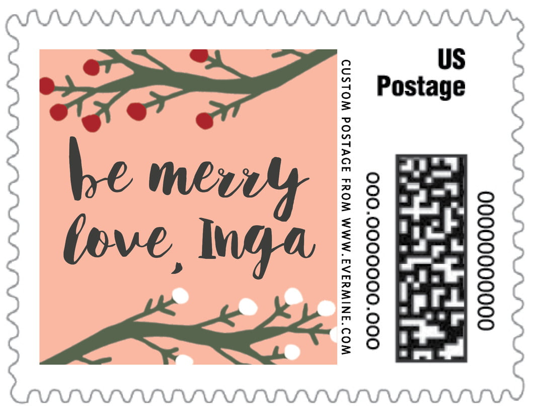 small custom postage stamps - peach - merry berries (set of 20)