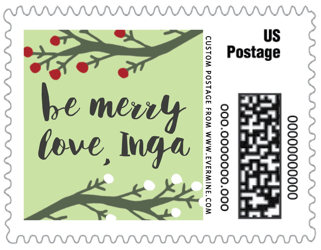 small custom postage stamps - lime - merry berries (set of 20)