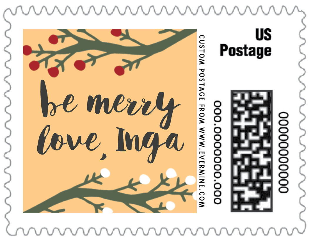 small custom postage stamps - orange - merry berries (set of 20)