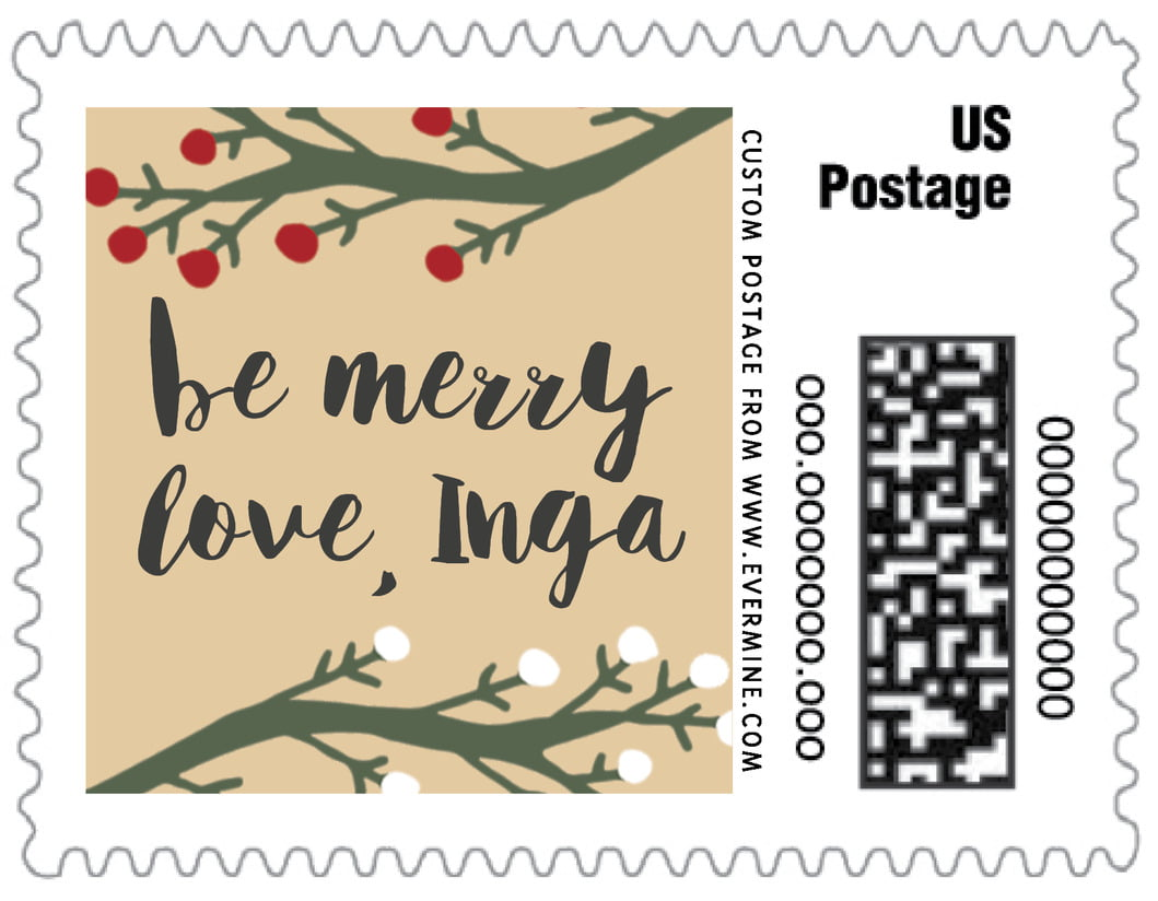 small custom postage stamps - deep gold - merry berries (set of 20)