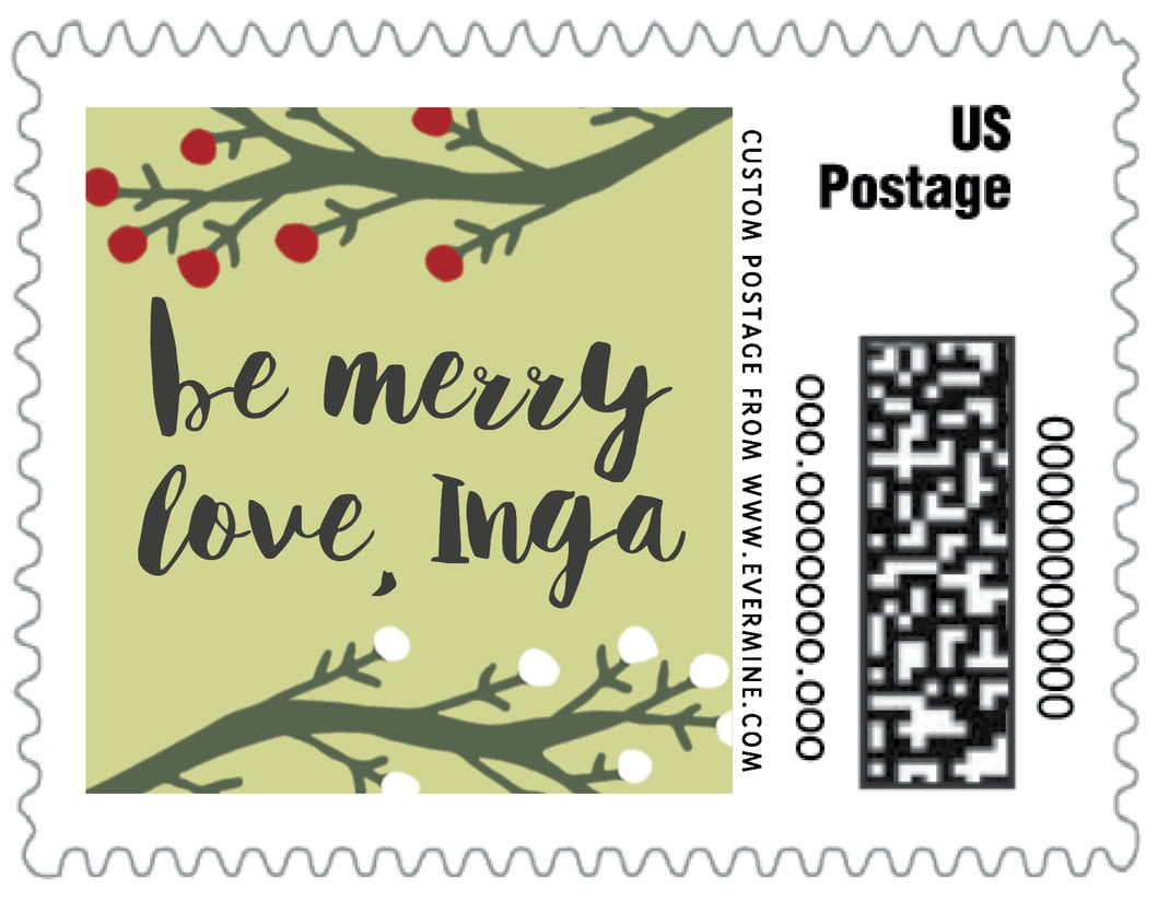 small custom postage stamps - green tea - merry berries (set of 20)