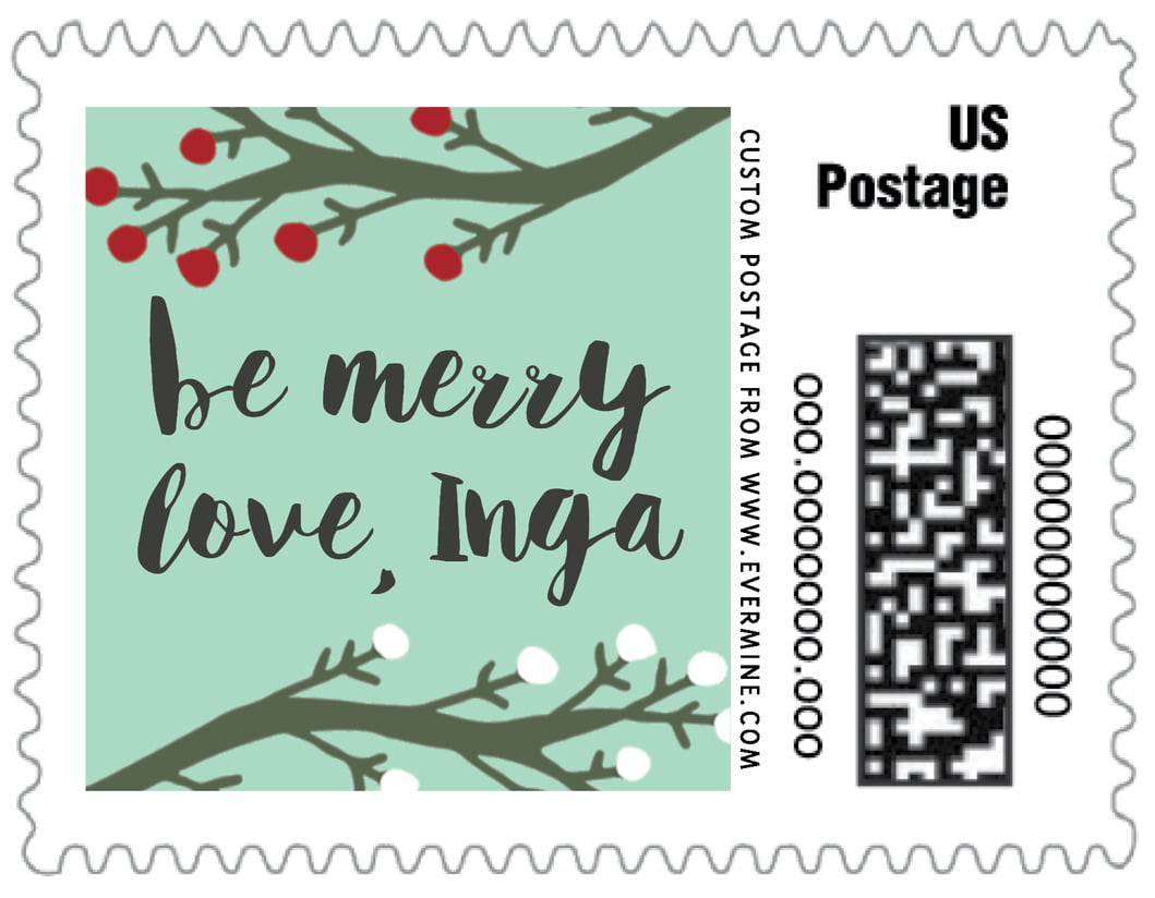 small custom postage stamps - sea glass - merry berries (set of 20)