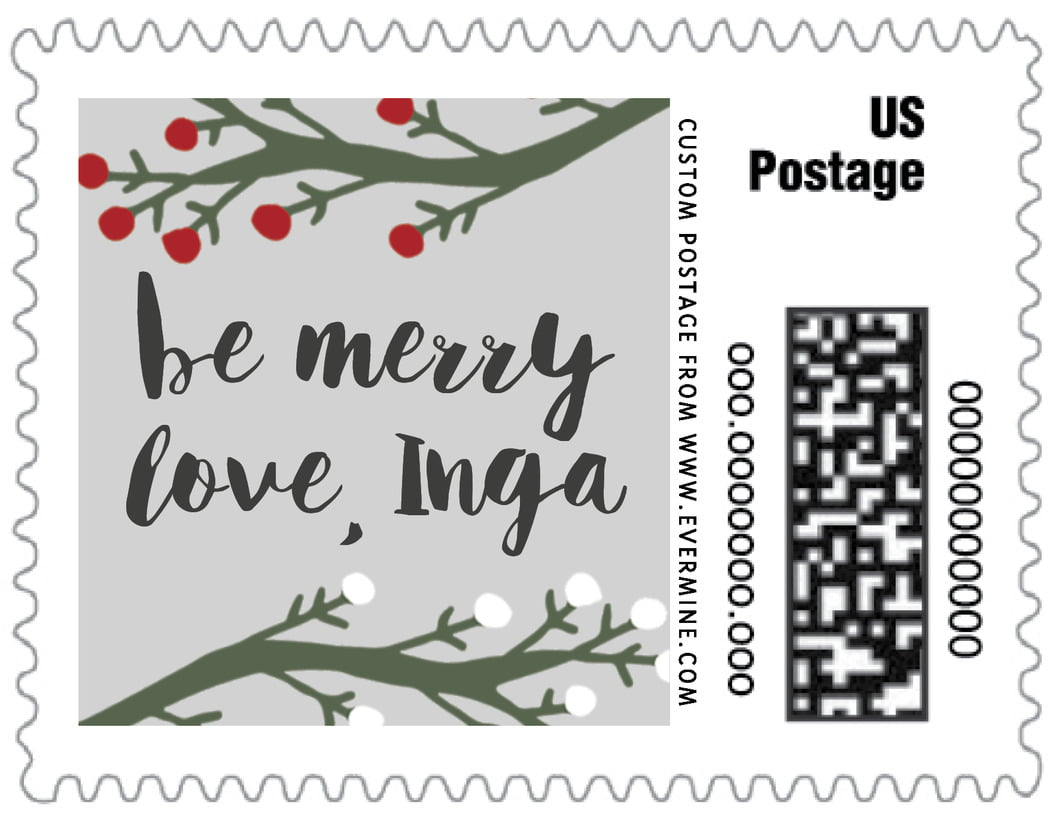 small custom postage stamps - stone - merry berries (set of 20)