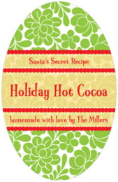 Mele Kalikimaka tall oval labels