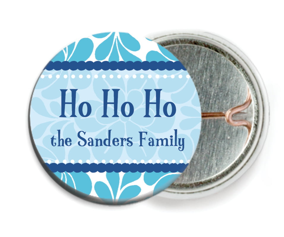 custom pin back buttons - ice blue - mele kalikimaka (set of 6)