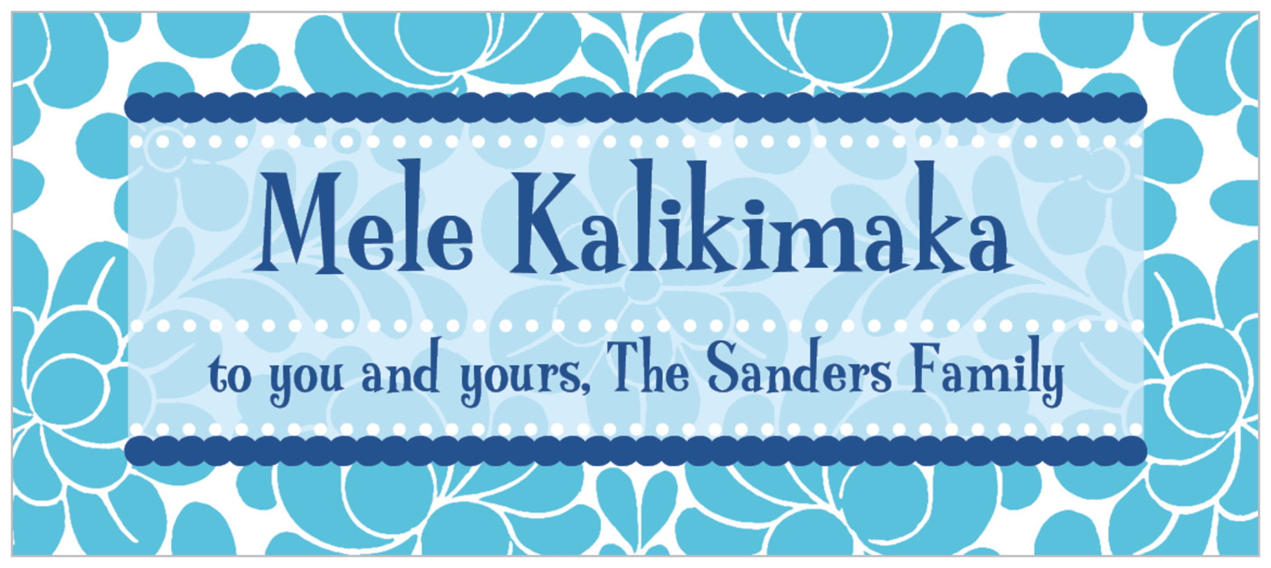 small rectangle food/craft labels - ice blue - mele kalikimaka (set of 24)