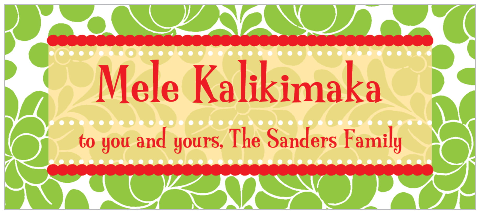 small rectangle food/craft labels - green - mele kalikimaka (set of 24)