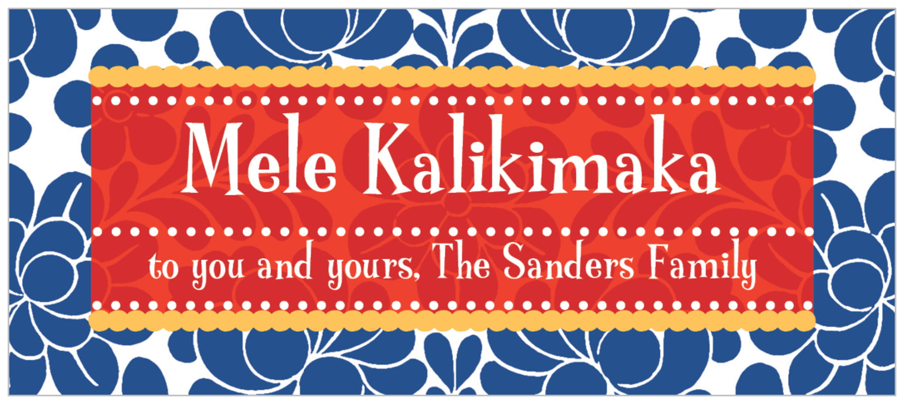 small rectangle food/craft labels - deep blue - mele kalikimaka (set of 24)