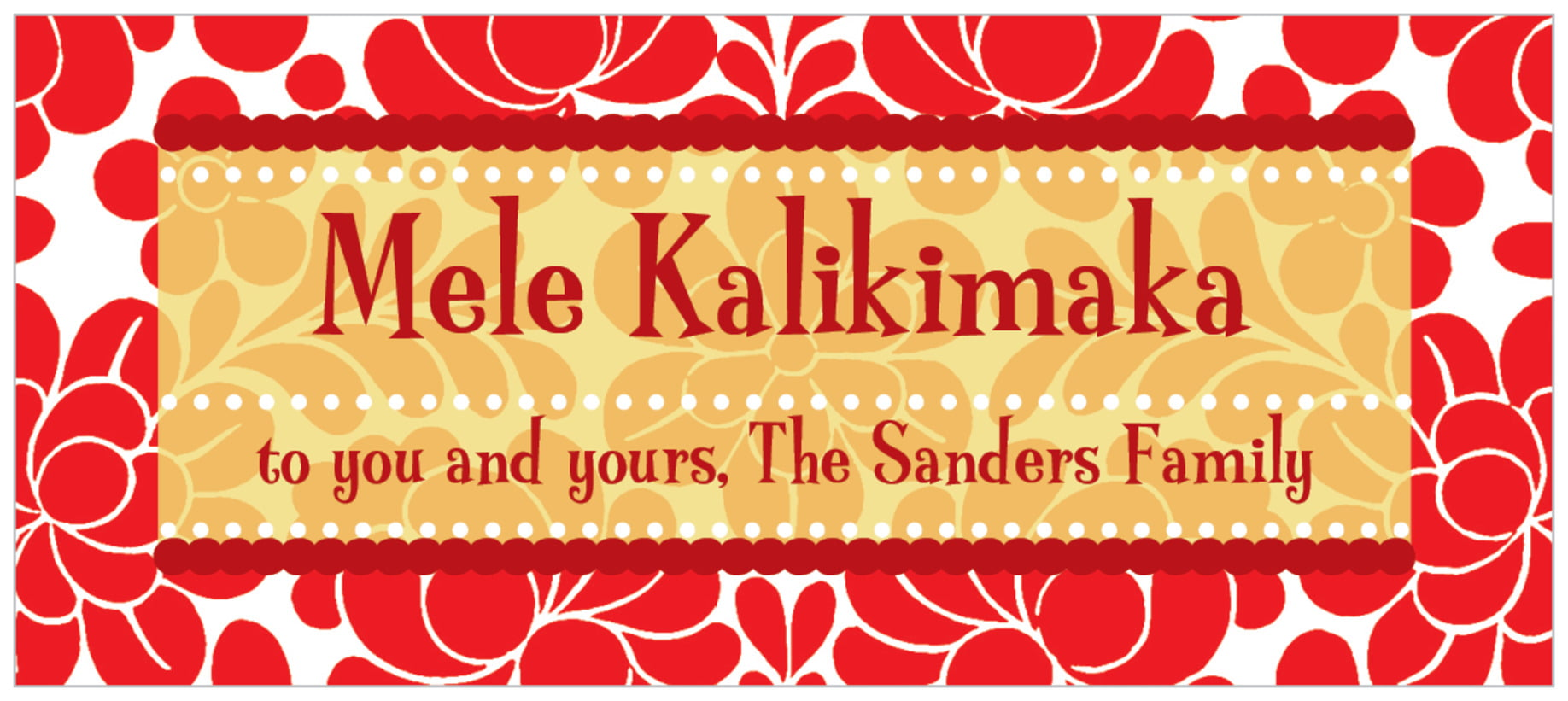 small rectangle food/craft labels - red & gold - mele kalikimaka (set of 24)