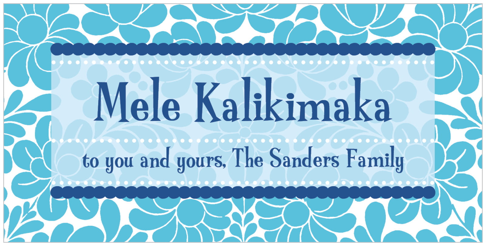 small rectangular food/craft labels - ice blue - mele kalikimaka (set of 24)