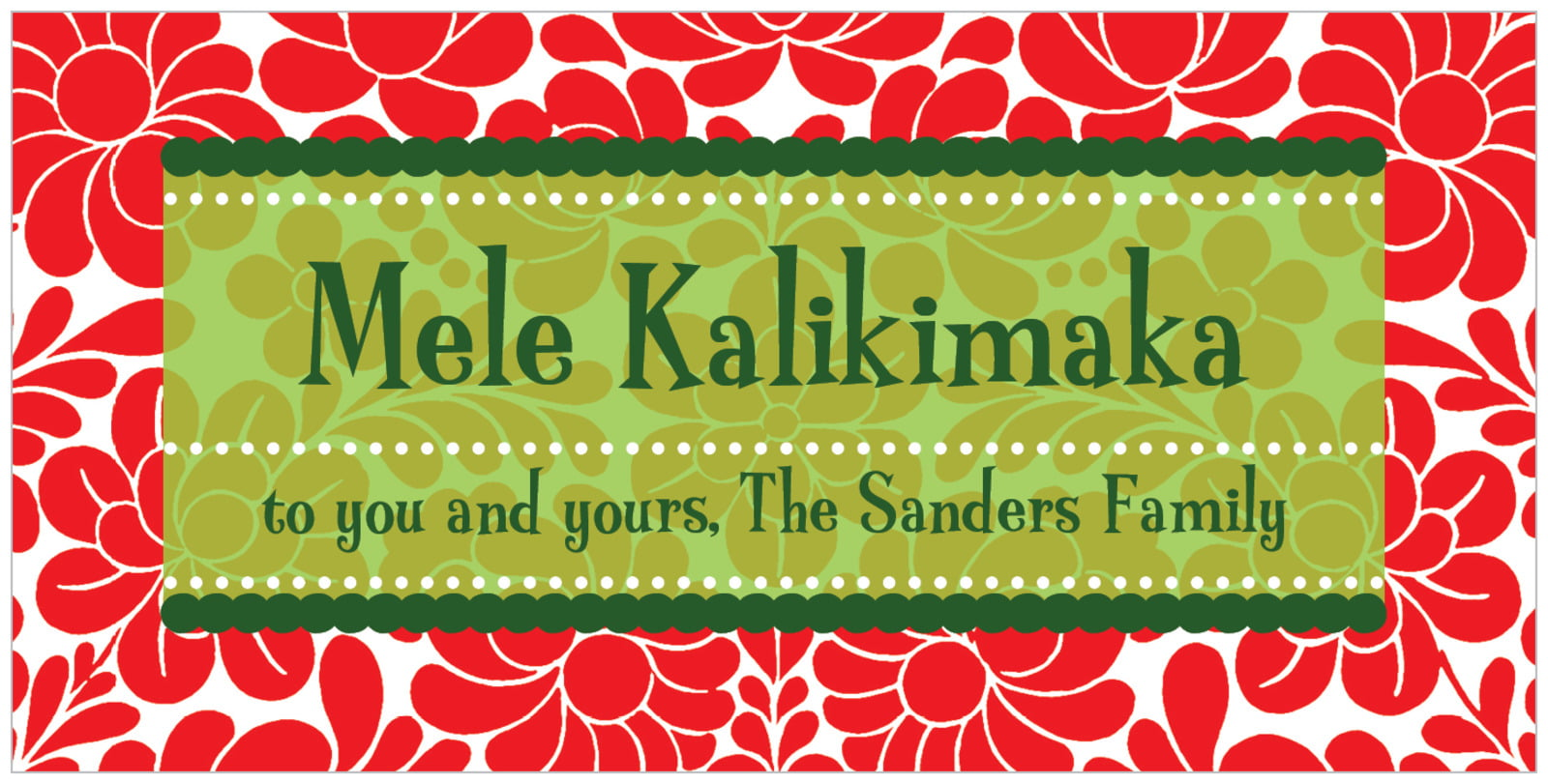 small rectangular food/craft labels - red - mele kalikimaka (set of 24)