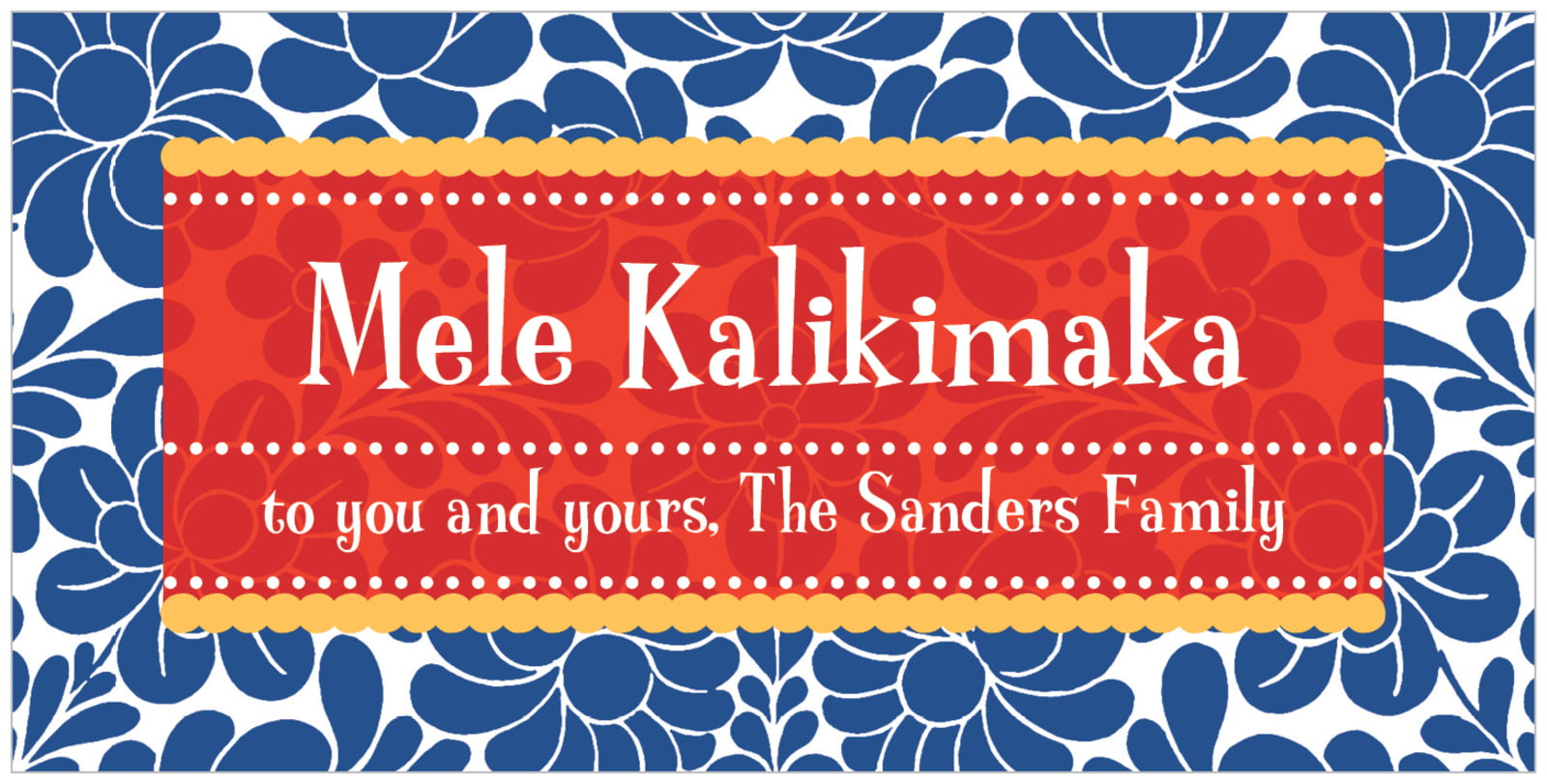 small rectangular food/craft labels - deep blue - mele kalikimaka (set of 24)