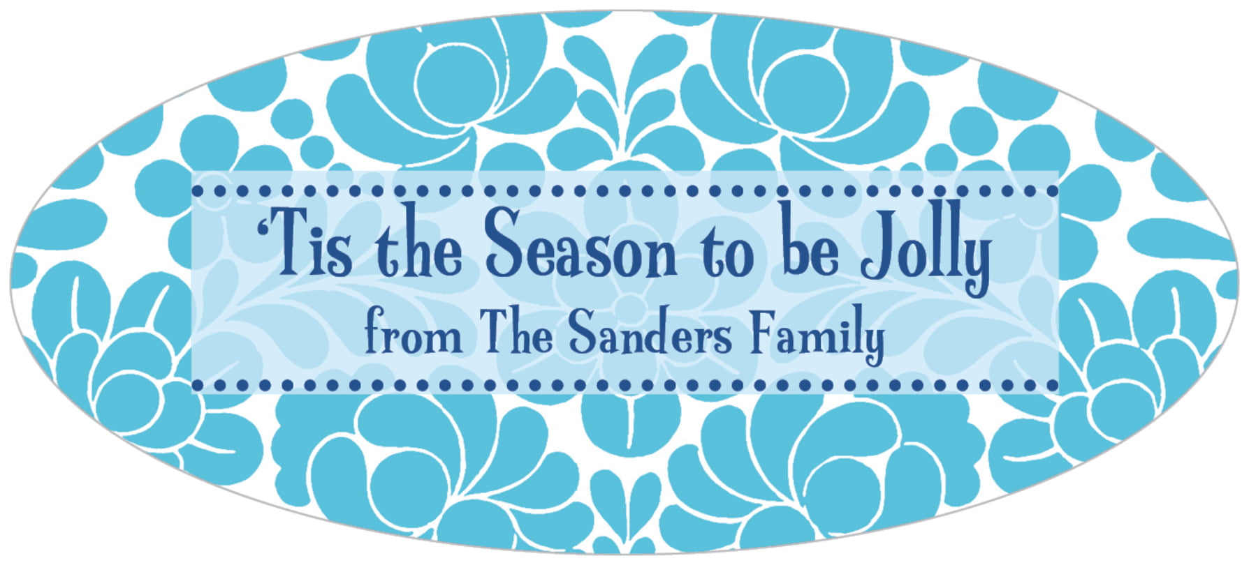 oval food/craft labels - ice blue - mele kalikimaka (set of 30)