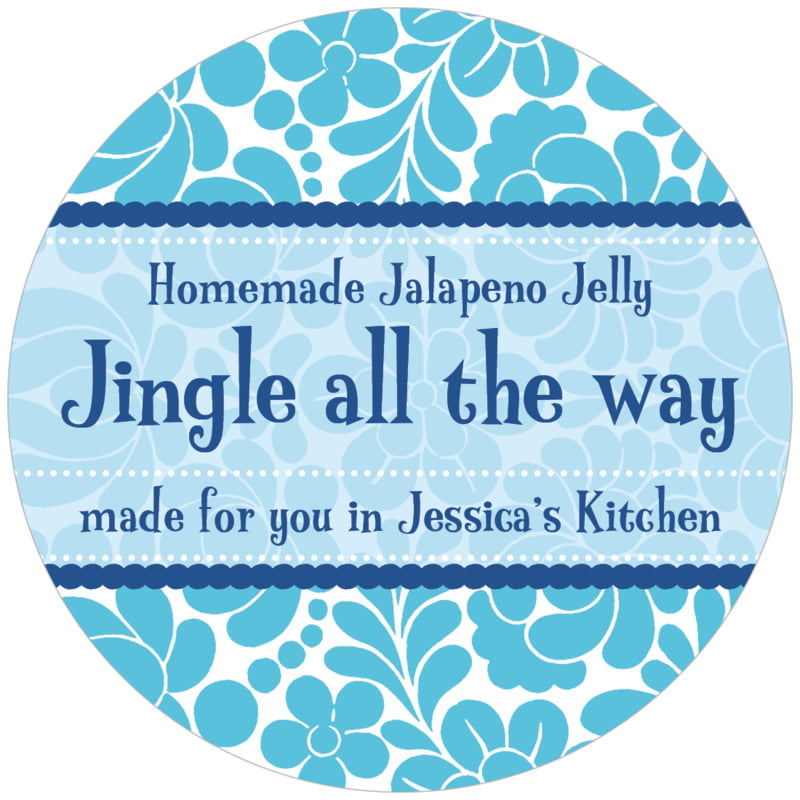 circle food/craft labels - ice blue - mele kalikimaka (set of 12)