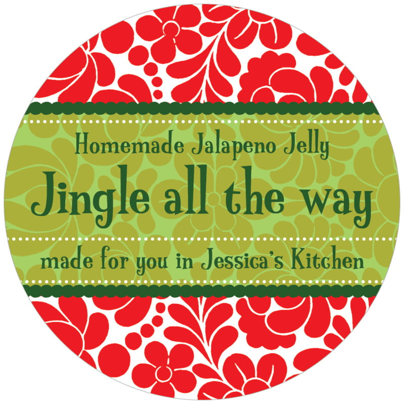 circle food/craft labels - red - mele kalikimaka (set of 12)