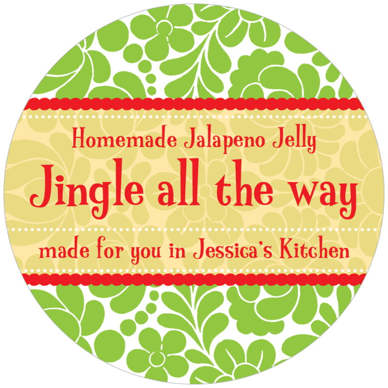 circle food/craft labels - green - mele kalikimaka (set of 12)