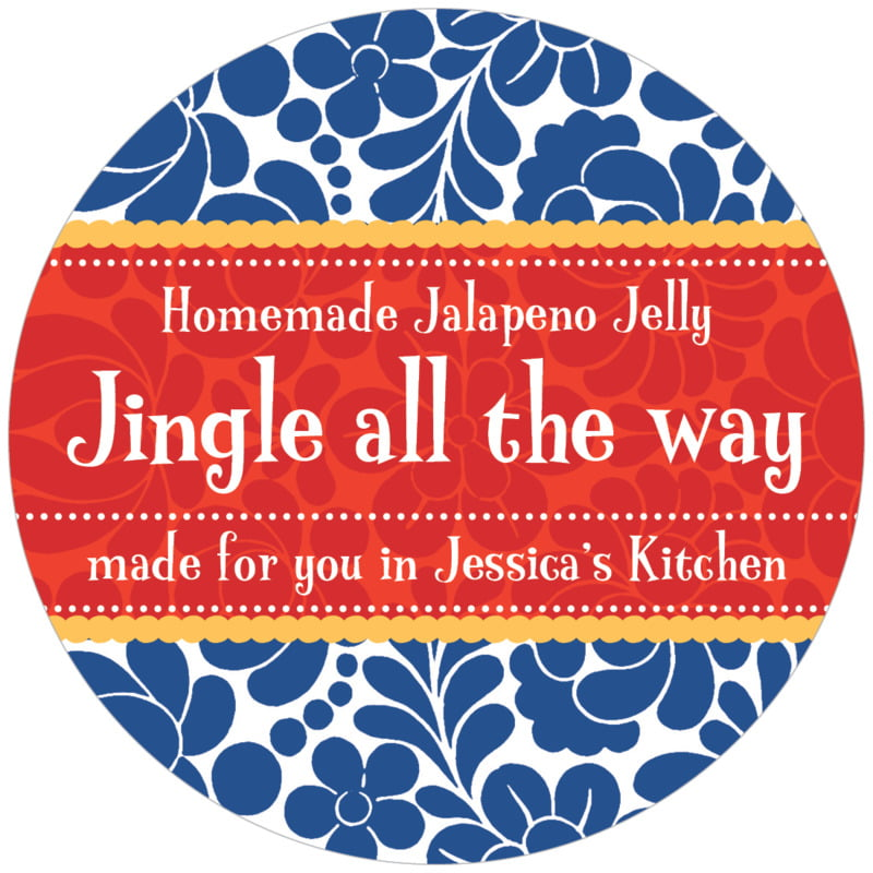 circle food/craft labels - deep blue - mele kalikimaka (set of 12)