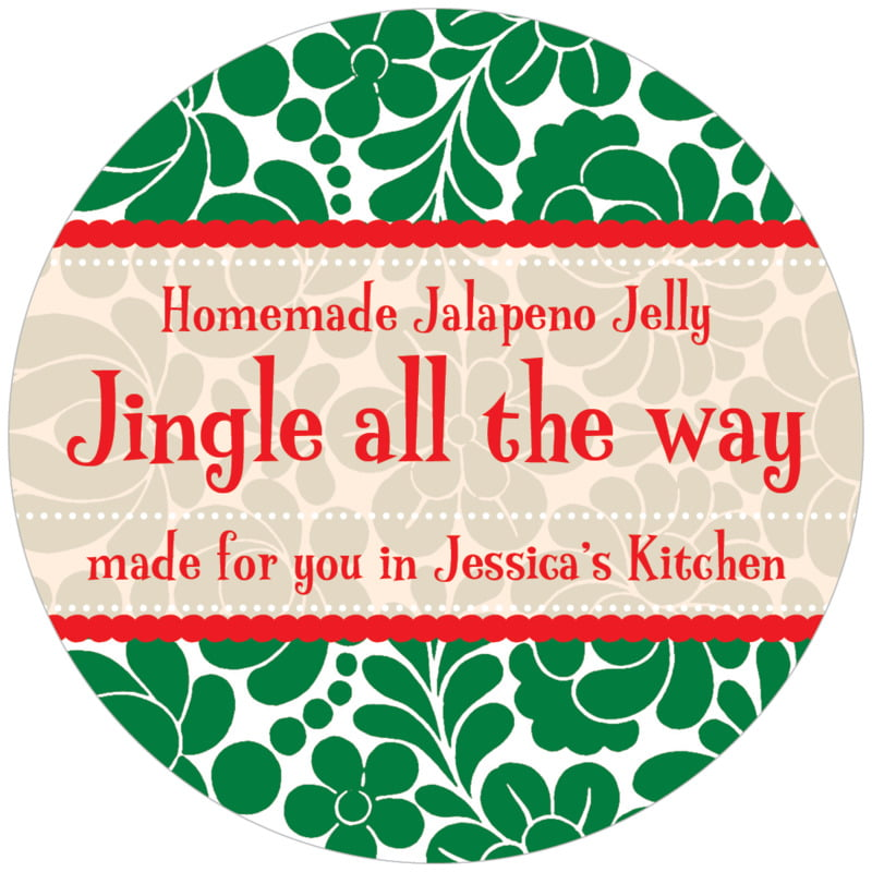 circle food/craft labels - deep green - mele kalikimaka (set of 12)