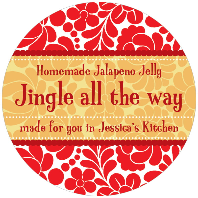 circle food/craft labels - red & gold - mele kalikimaka (set of 12)