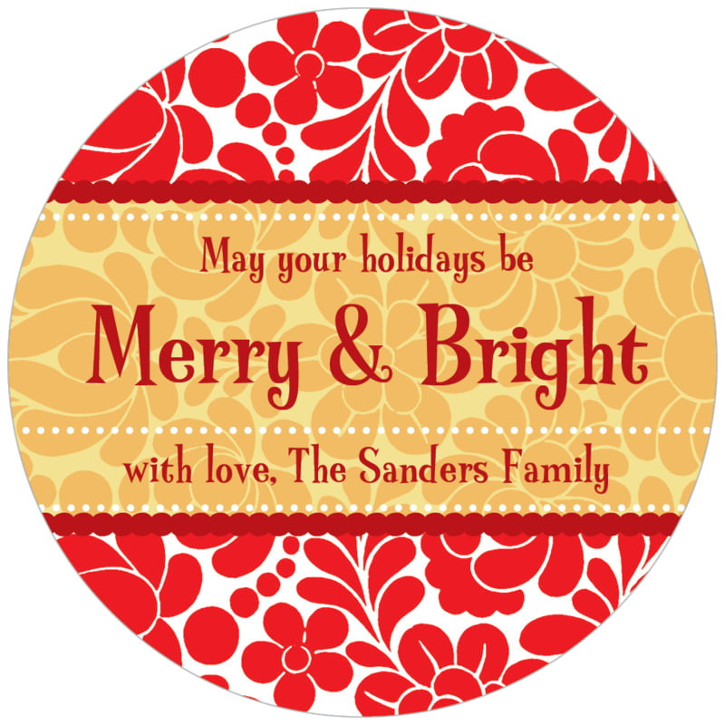 circle food/craft labels - red & gold - mele kalikimaka (set of 20)