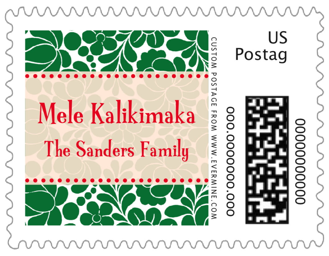 small custom postage stamps - deep green - mele kalikimaka (set of 20)