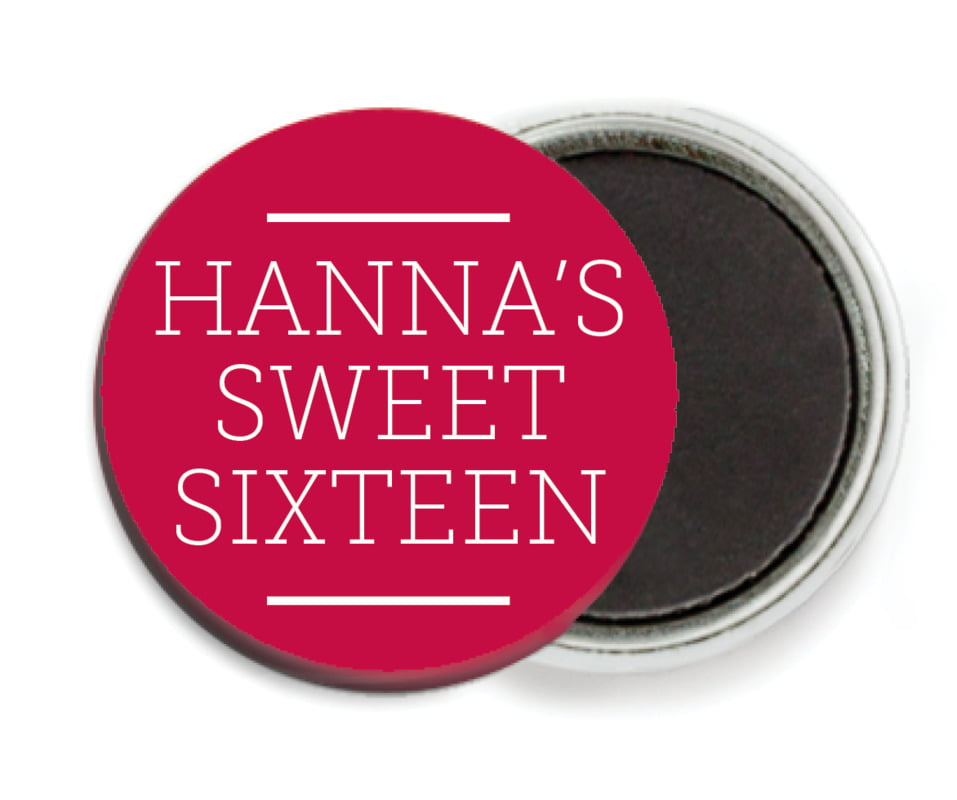 custom button magnets - deep red - modern museo (set of 6)