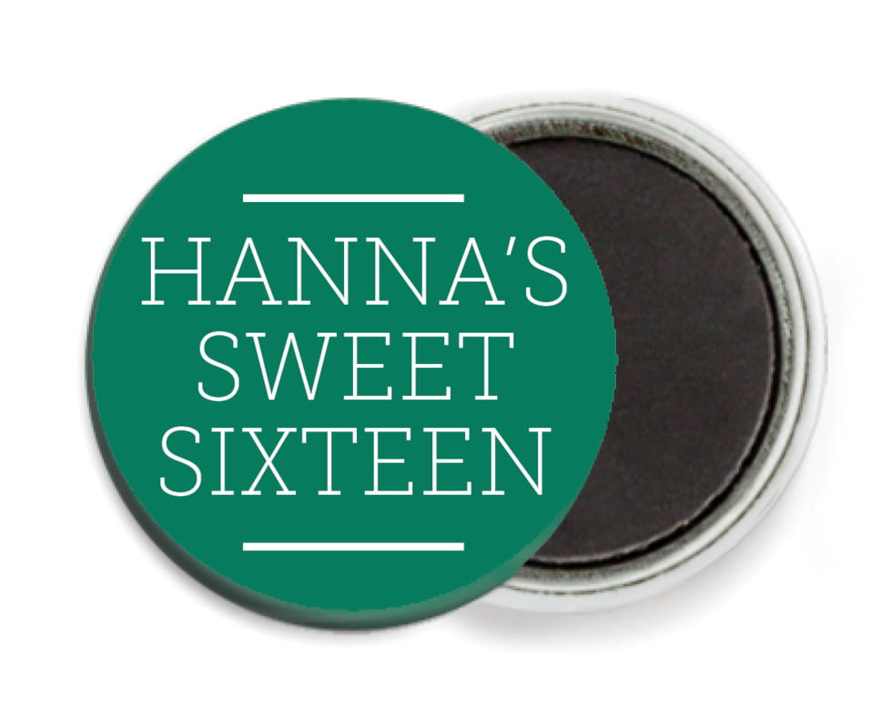 custom button magnets - deep green - modern museo (set of 6)