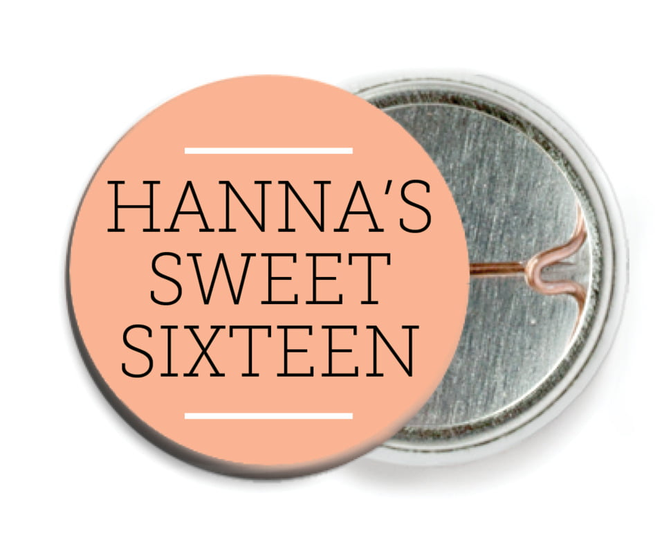 custom pin back buttons - peach - modern museo (set of 6)