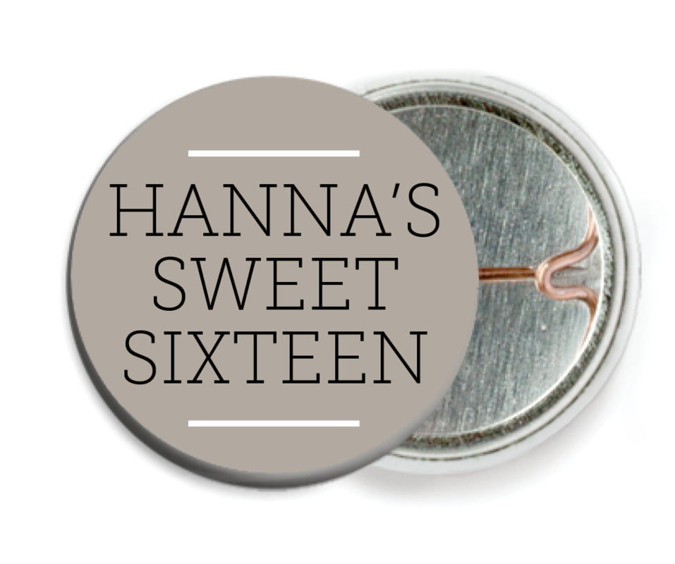 custom pin back buttons - warm grey - modern museo (set of 6)