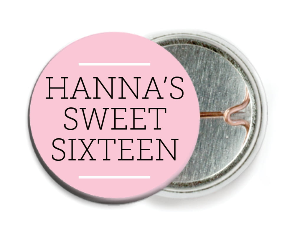 custom pin back buttons - pink - modern museo (set of 6)