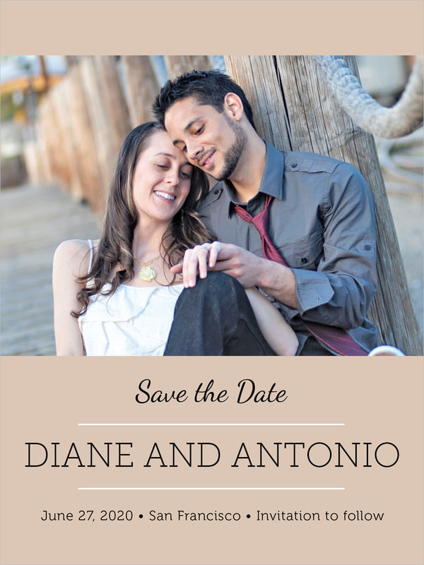 custom tall save the date cards - mocha - modern museo (set of 10)