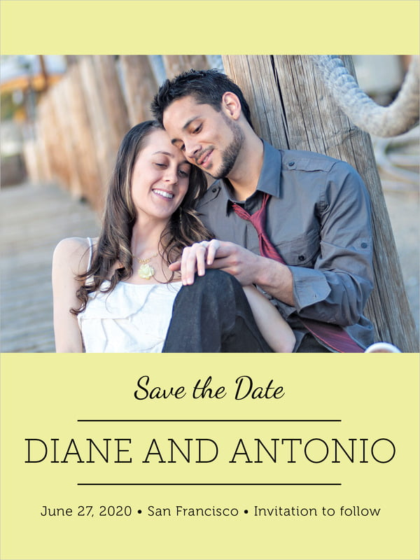 custom tall save the date cards - chartreuse - modern museo (set of 10)