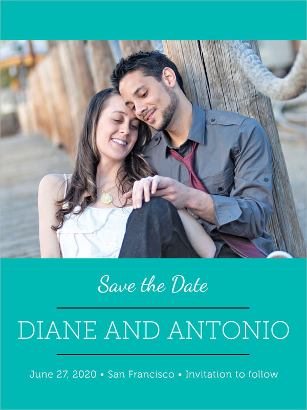 custom tall save the date cards - turquoise - modern museo (set of 10)