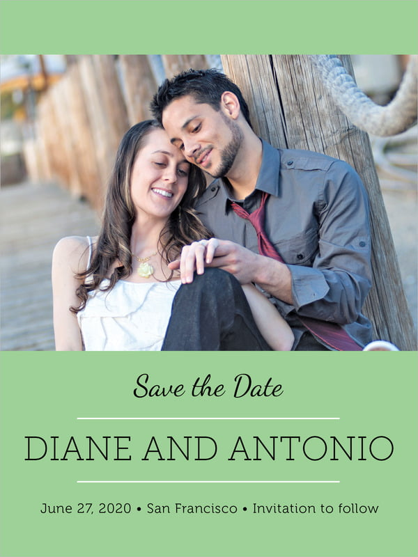 custom tall save the date cards - light green - modern museo (set of 10)