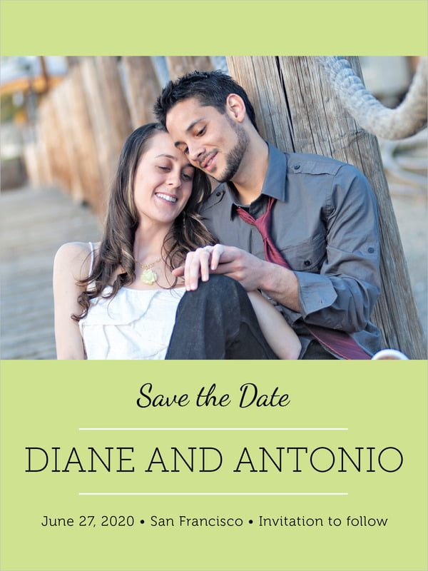 custom tall save the date cards - lime - modern museo (set of 10)
