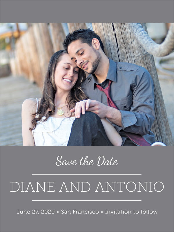 custom tall save the date cards - charcoal - modern museo (set of 10)