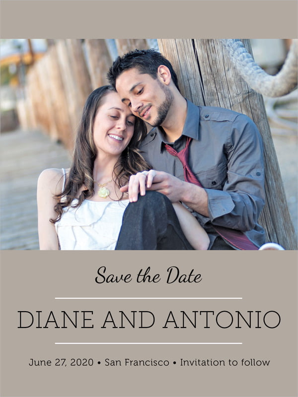 custom tall save the date cards - warm grey - modern museo (set of 10)