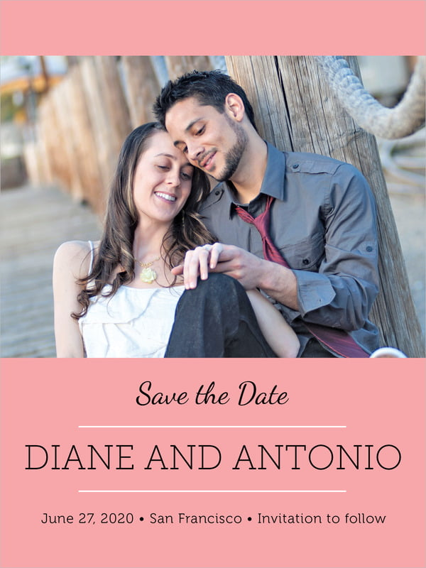 custom tall save the date cards - grapefruit - modern museo (set of 10)