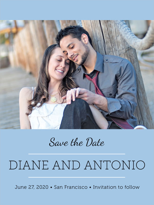 custom tall save the date cards - blue - modern museo (set of 10)