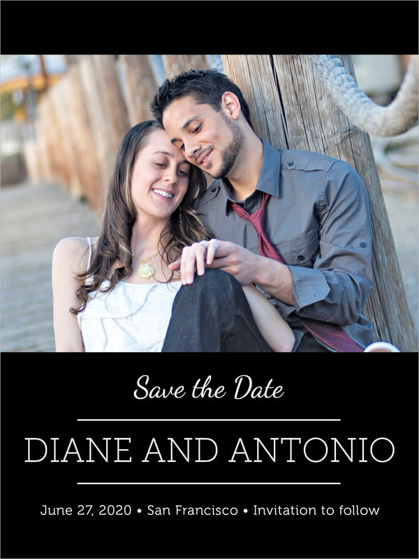 custom tall save the date cards - tuxedo - modern museo (set of 10)