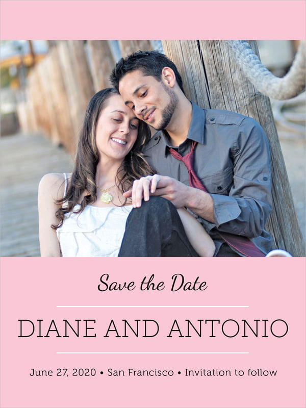 custom tall save the date cards - pink - modern museo (set of 10)