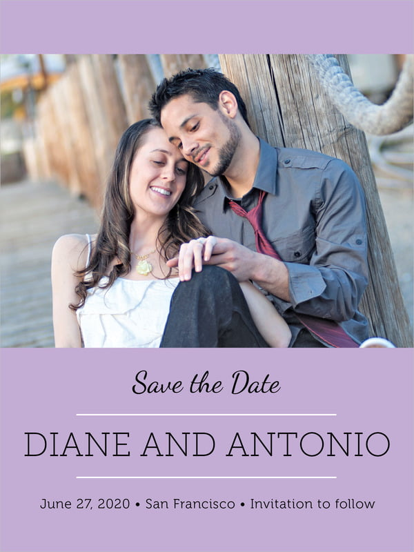 custom tall save the date cards - lilac - modern museo (set of 10)